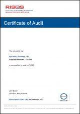 Achilles RISQS Certificate of Audit